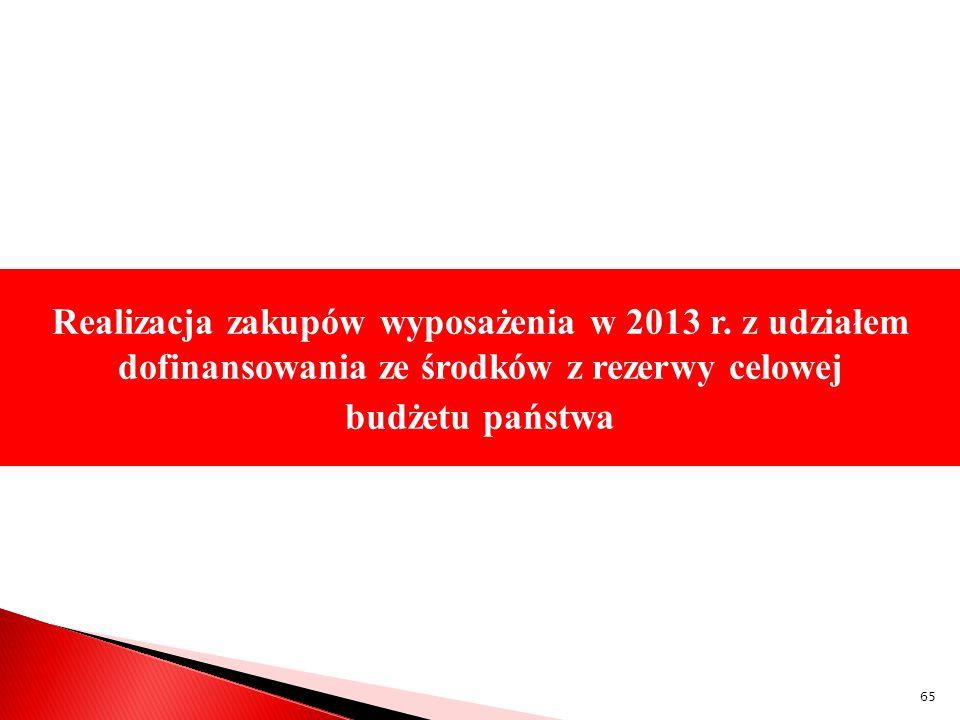 Realizacja zakupów wyposażenia w 2013 r. z udziałem dofinansowania ze środków z rezerwy celowej budżetu państwa 65