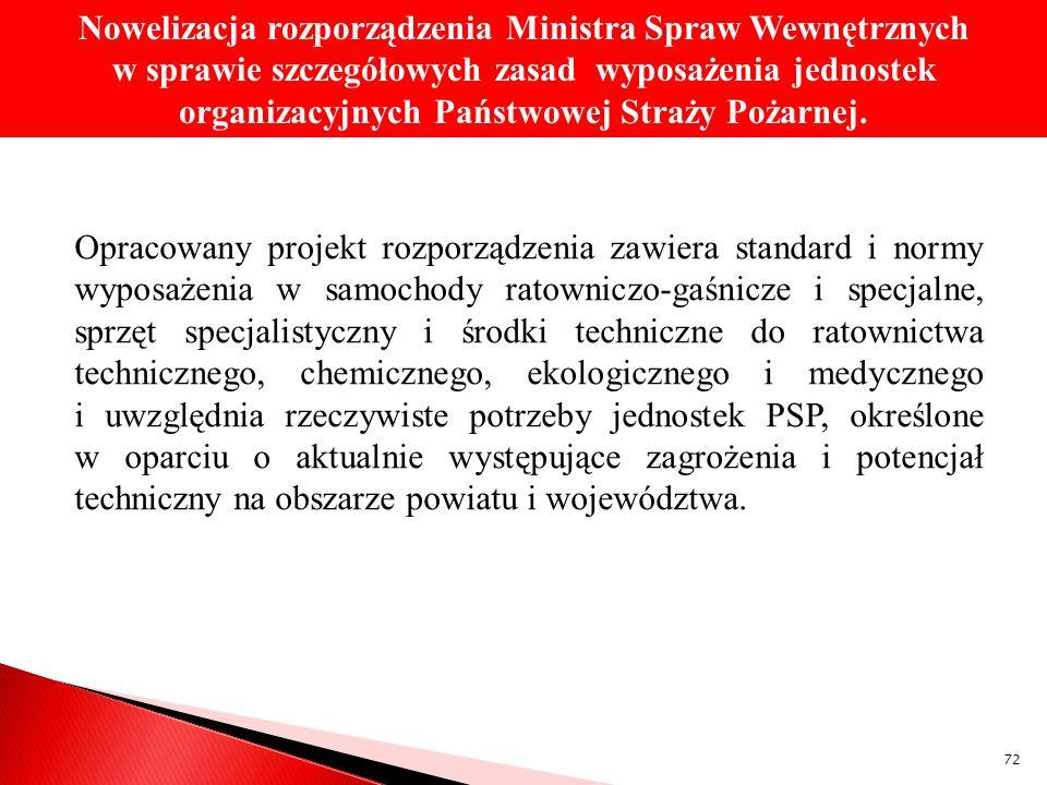 Opracowany projekt rozporządzenia zawiera standard i normy wyposażenia w samochody ratowniczo-gaśnicze i specjalne, sprzęt specjalistyczny i środki te