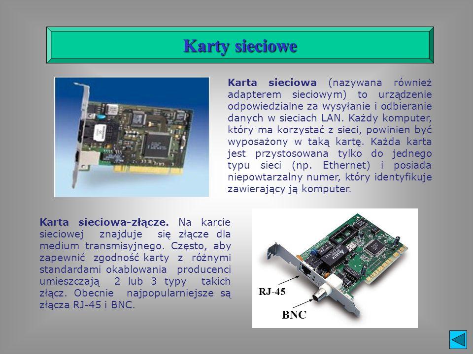 Karta sieciowa (nazywana również adapterem sieciowym) to urządzenie odpowiedzialne za wysyłanie i odbieranie danych w sieciach LAN. Każdy komputer, kt