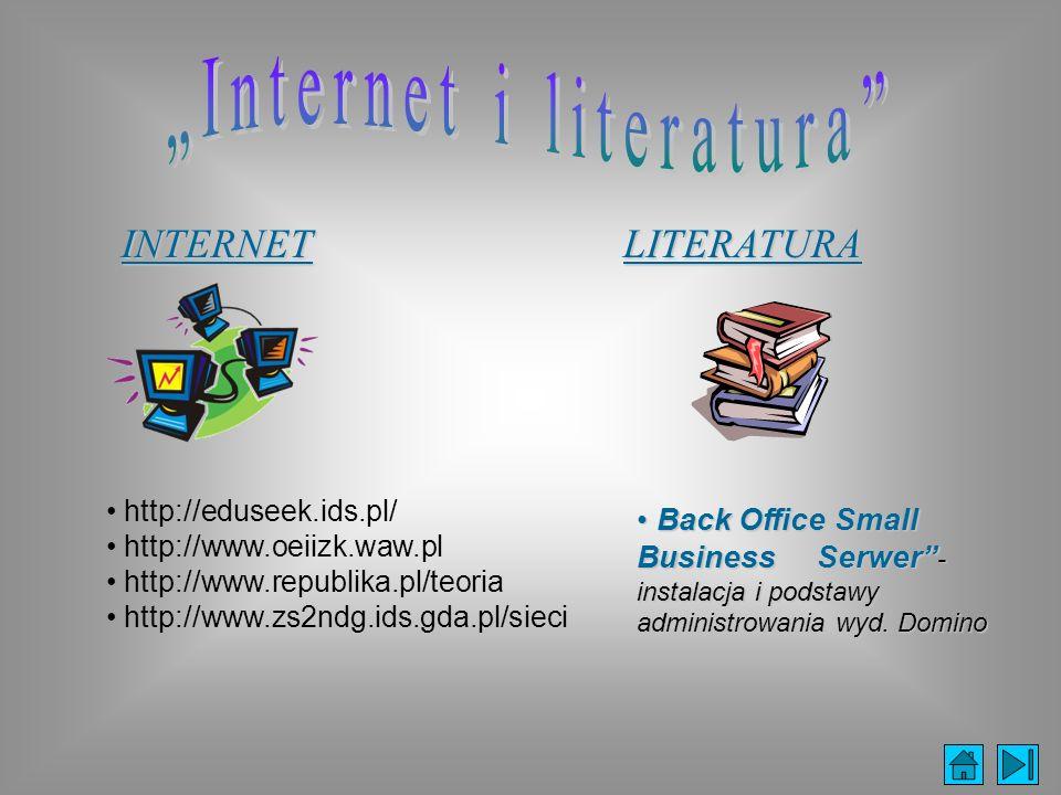 INTERNET http://eduseek.ids.pl/ http://www.oeiizk.waw.pl http://www.republika.pl/teoria http://www.zs2ndg.ids.gda.pl/sieciLITERATURA Back Office Small