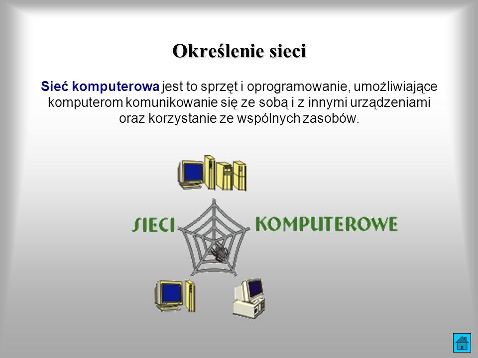 Podział sieci komputerowych LAN (Local Area Network) - sieć lokalna, najczęściej obejmuje jedno przedsiębiorstwo i łączy użytkowników zgromadzonych na niewielkim obszarze (kilka budynków), wykonana w jednej technologii (np.: Ethernet).