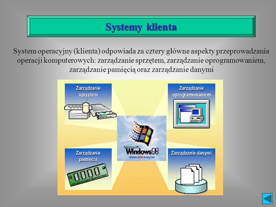 Systemy klienta System operacyjny (klienta) odpowiada za cztery główne aspekty przeprowadzania operacji komputerowych: zarządzanie sprzętem, zarządzan
