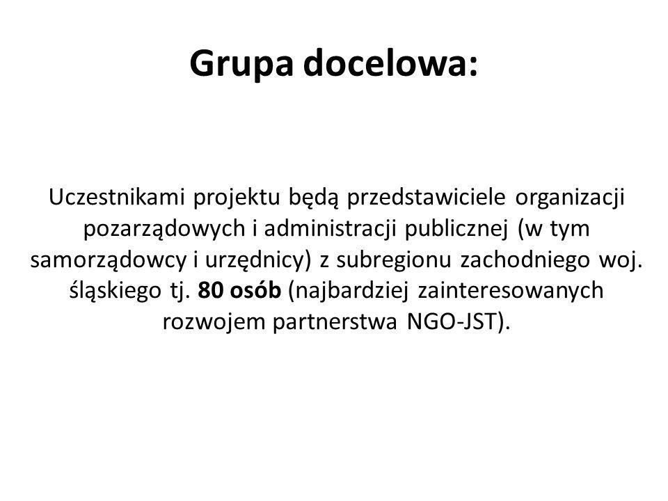 Grupa docelowa: Uczestnikami projektu będą przedstawiciele organizacji pozarządowych i administracji publicznej (w tym samorządowcy i urzędnicy) z sub