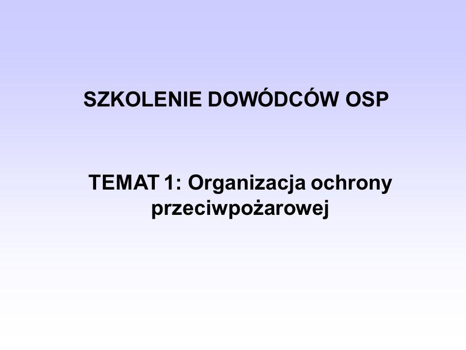SZKOLENIE DOWÓDCÓW OSP TEMAT 1: Organizacja ochrony przeciwpożarowej