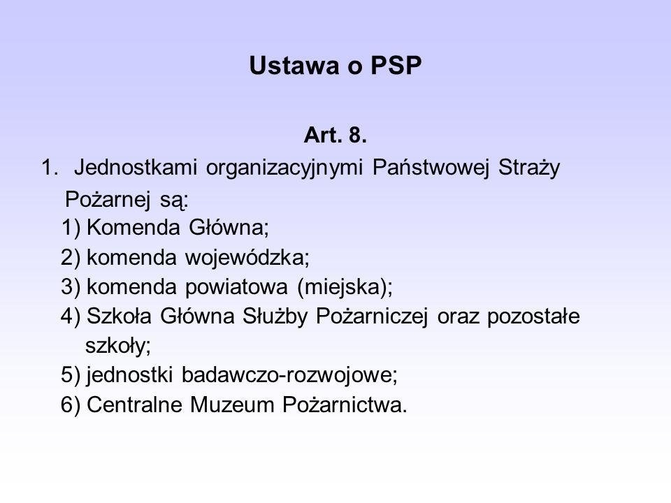 Ustawa o PSP 1) Komenda Główna; 2) komenda wojewódzka; 3) komenda powiatowa (miejska); 4) Szkoła Główna Służby Pożarniczej oraz pozostałe szkoły; 5) j