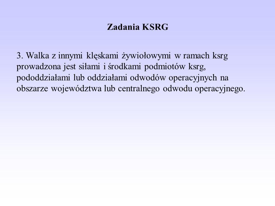 Zadania KSRG 3. Walka z innymi klęskami żywiołowymi w ramach ksrg prowadzona jest siłami i środkami podmiotów ksrg, pododdziałami lub oddziałami odwod