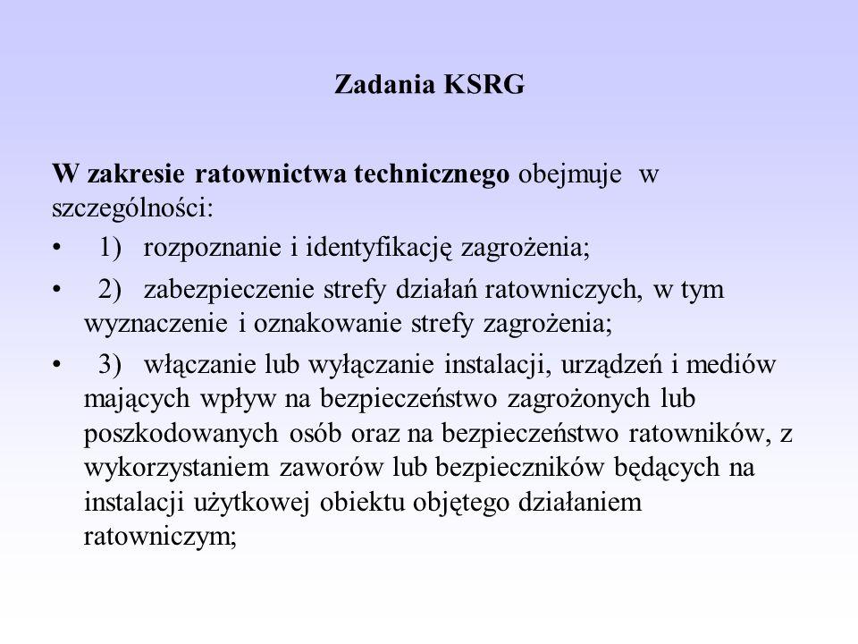 Zadania KSRG W zakresie ratownictwa technicznego obejmuje w szczególności: 1) rozpoznanie i identyfikację zagrożenia; 2) zabezpieczenie strefy działań