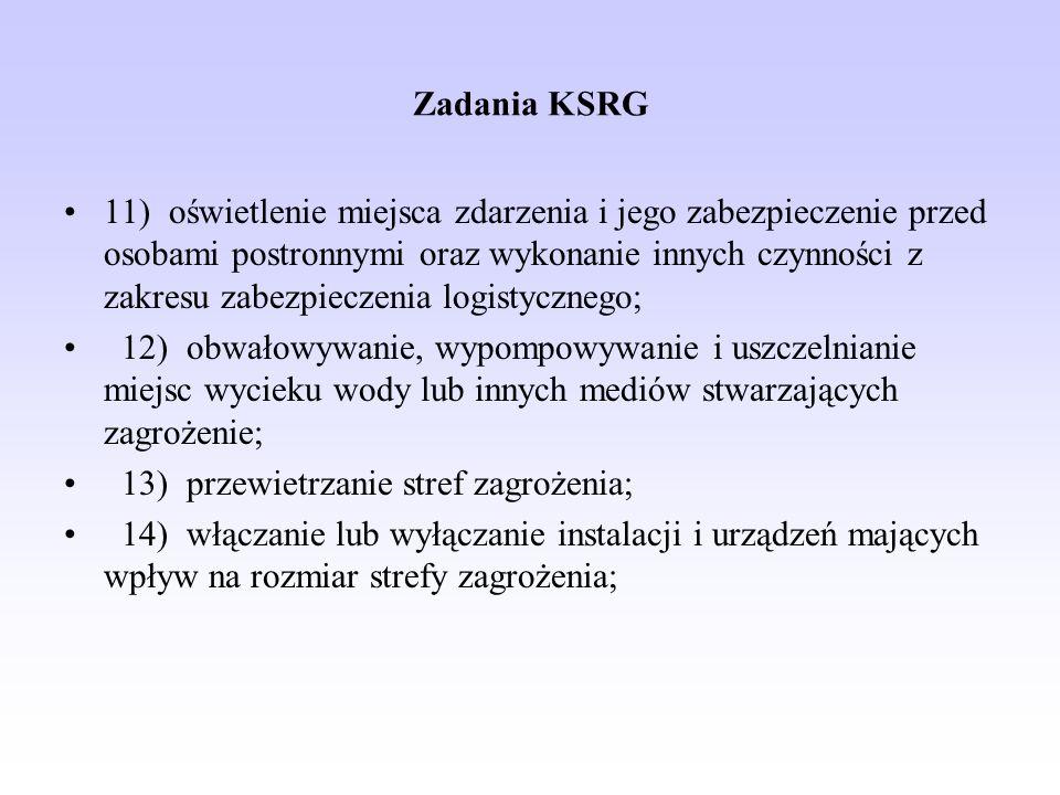 Zadania KSRG 11) oświetlenie miejsca zdarzenia i jego zabezpieczenie przed osobami postronnymi oraz wykonanie innych czynności z zakresu zabezpieczeni