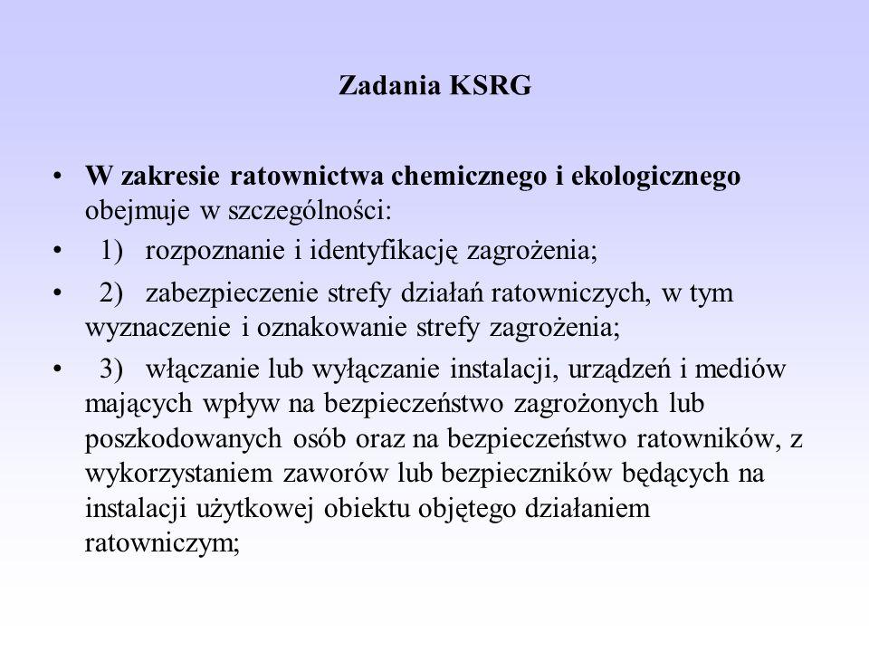 Zadania KSRG W zakresie ratownictwa chemicznego i ekologicznego obejmuje w szczególności: 1) rozpoznanie i identyfikację zagrożenia; 2) zabezpieczenie