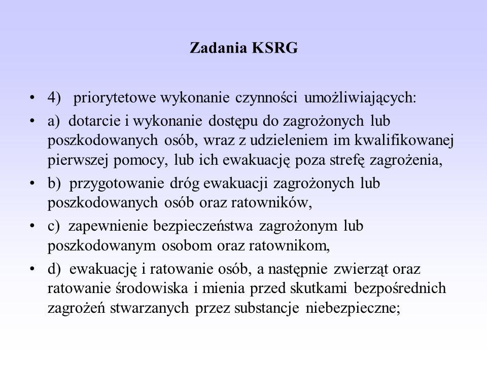 Zadania KSRG 4) priorytetowe wykonanie czynności umożliwiających: a) dotarcie i wykonanie dostępu do zagrożonych lub poszkodowanych osób, wraz z udzie