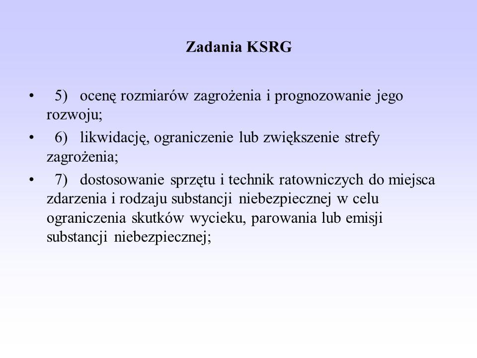 Zadania KSRG 5) ocenę rozmiarów zagrożenia i prognozowanie jego rozwoju; 6) likwidację, ograniczenie lub zwiększenie strefy zagrożenia; 7) dostosowani