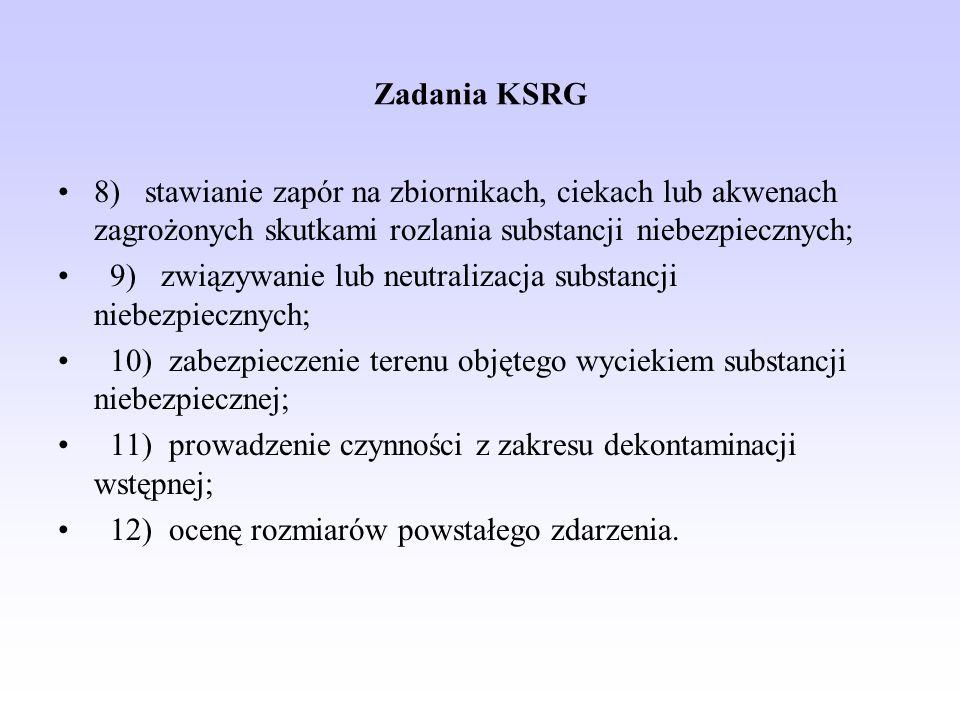 Zadania KSRG 8) stawianie zapór na zbiornikach, ciekach lub akwenach zagrożonych skutkami rozlania substancji niebezpiecznych; 9) związywanie lub neut
