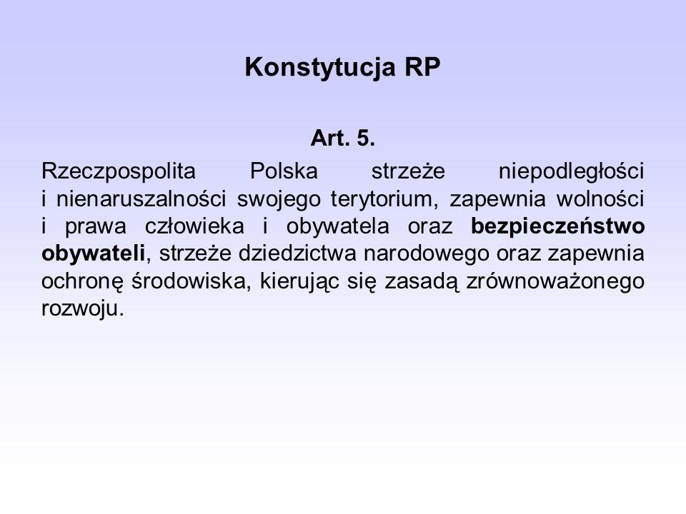 Konstytucja RP Art. 5. Rzeczpospolita Polska strzeże niepodległości i nienaruszalności swojego terytorium, zapewnia wolności i prawa człowieka i obywa