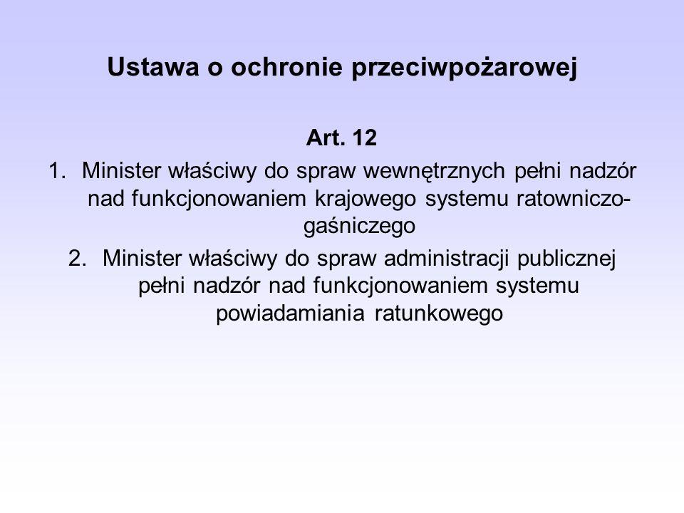 Ustawa o ochronie przeciwpożarowej Art. 12 1.Minister właściwy do spraw wewnętrznych pełni nadzór nad funkcjonowaniem krajowego systemu ratowniczo- ga