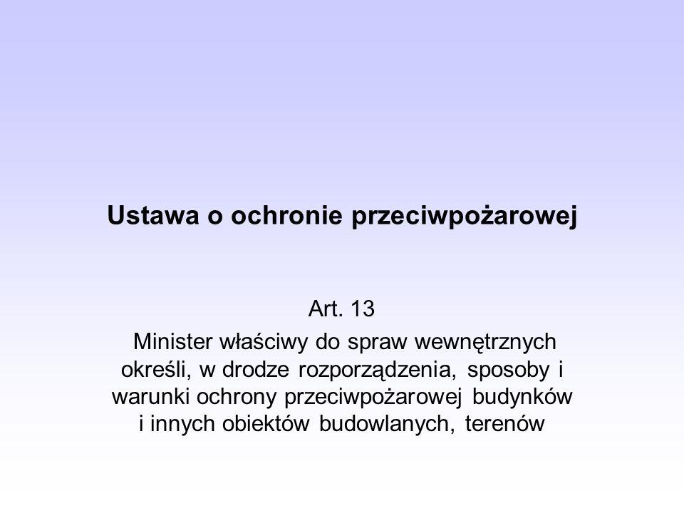 Ustawa o ochronie przeciwpożarowej Art. 13 Minister właściwy do spraw wewnętrznych określi, w drodze rozporządzenia, sposoby i warunki ochrony przeciw