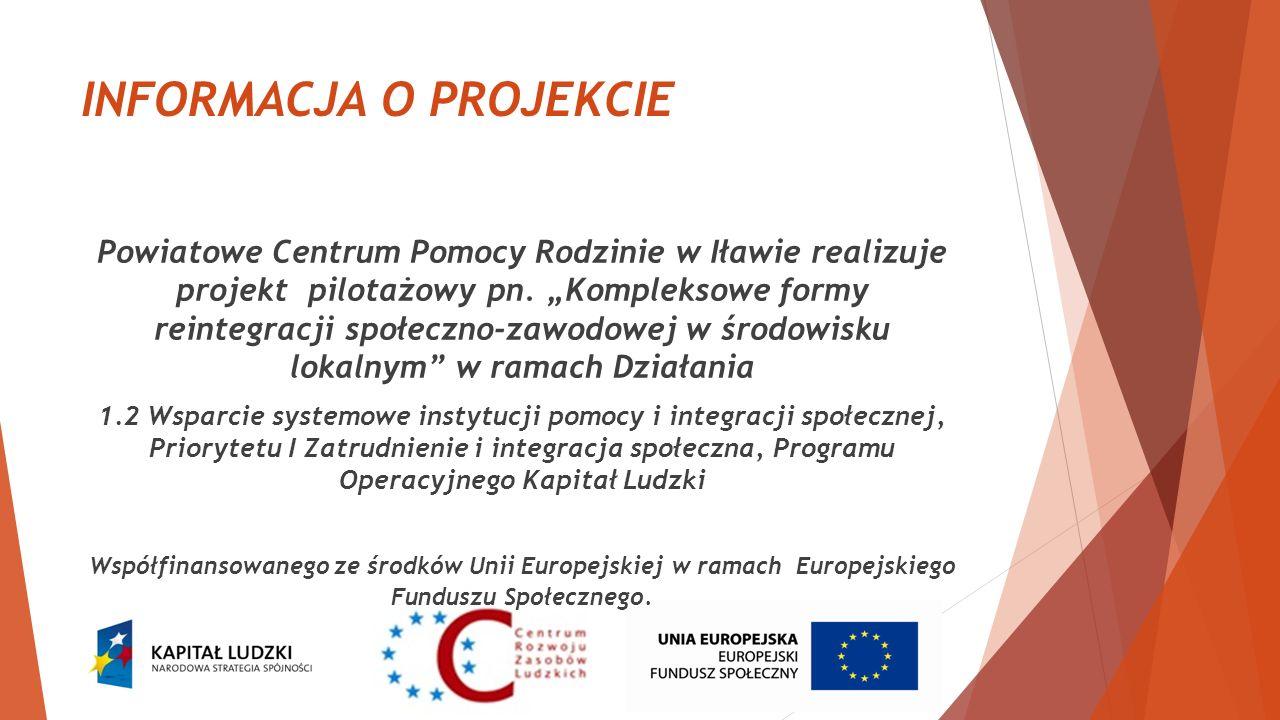 INFORMACJA O PROJEKCIE Powiatowe Centrum Pomocy Rodzinie w Iławie realizuje projekt pilotażowy pn. Kompleksowe formy reintegracji społeczno-zawodowej