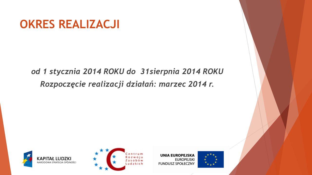 OKRES REALIZACJI od 1 stycznia 2014 ROKU do 31sierpnia 2014 ROKU Rozpoczęcie realizacji działań: marzec 2014 r.