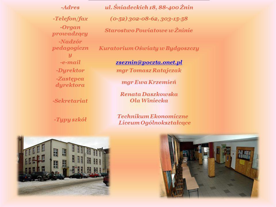 Zespół Szkół Ekonomiczno- Handlowych w Żninie Ul. Śniadeckich 18