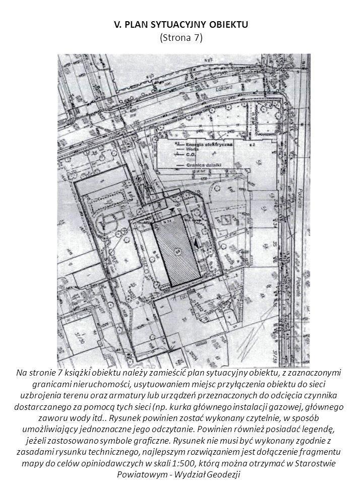 Na stronie 7 książki obiektu należy zamieścić plan sytuacyjny obiektu, z zaznaczonymi granicami nieruchomości, usytuowaniem miejsc przyłączenia obiekt