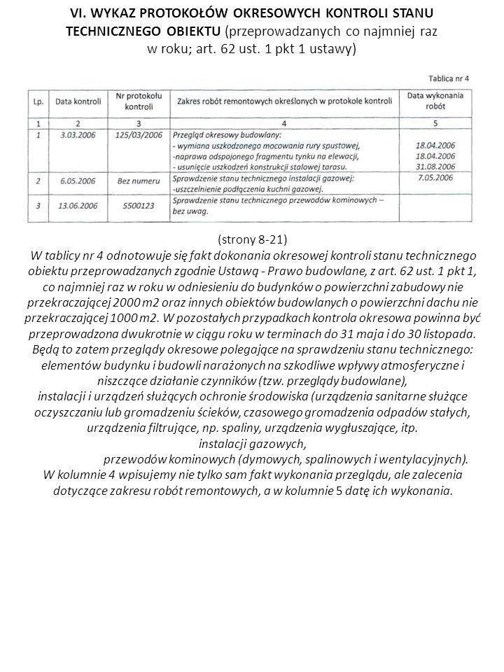 (strony 8-21) W tablicy nr 4 odnotowuje się fakt dokonania okresowej kontroli stanu technicznego obiektu przeprowadzanych zgodnie Ustawą - Prawo budow
