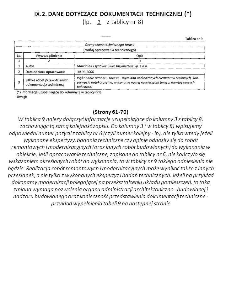 (Strony 61-70) W tablica 9 należy dołączyć informacje uzupełniające do kolumny 3 z tablicy 8, zachowując tą samą kolejność zapisu. Do kolumny 3 ( w t