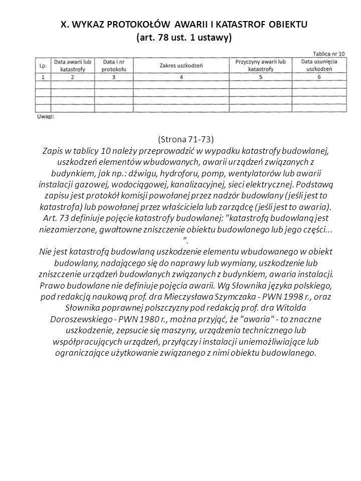 X. WYKAZ PROTOKOŁÓW AWARII I KATASTROF OBIEKTU (art. 78 ust. 1 ustawy) (Strona 71-73) Zapis w tablicy 10 należy przeprowadzić w wypadku katastrofy bud