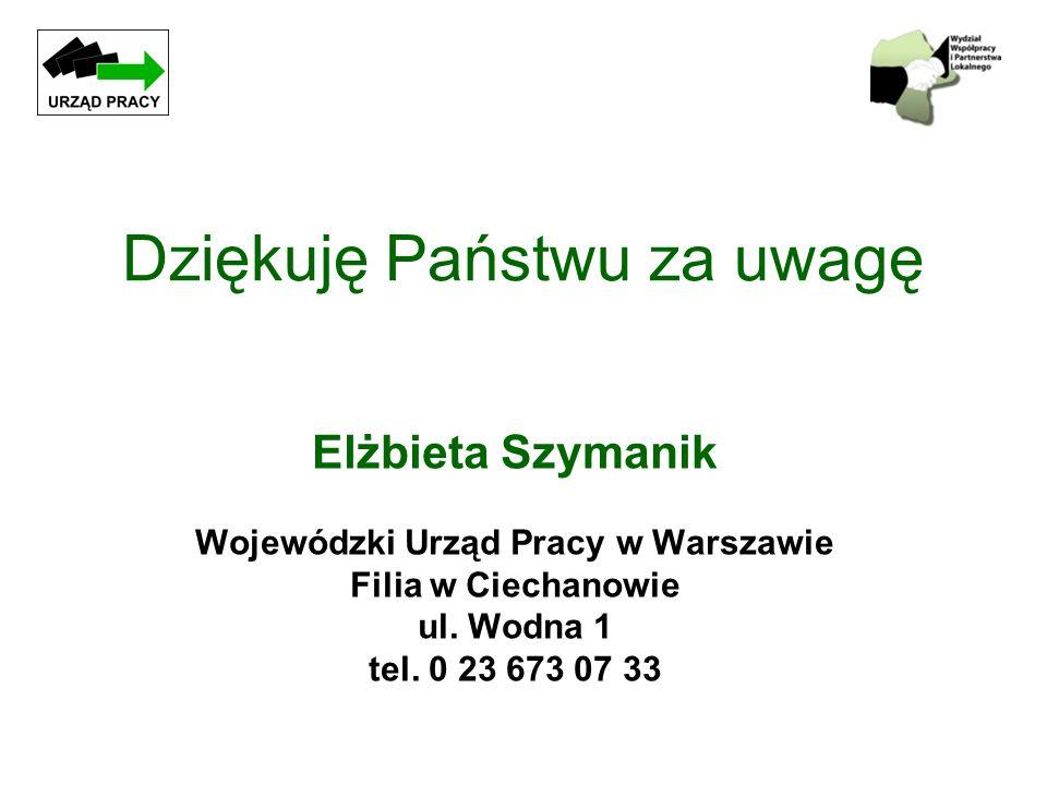 Dziękuję Państwu za uwagę Elżbieta Szymanik Wojewódzki Urząd Pracy w Warszawie Filia w Ciechanowie ul. Wodna 1 tel. 0 23 673 07 33