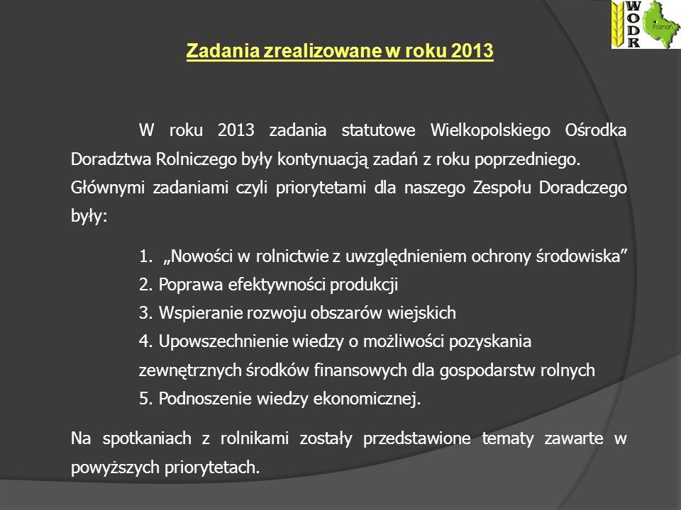 Zadania zrealizowane w roku 2013 W roku 2013 zadania statutowe Wielkopolskiego Ośrodka Doradztwa Rolniczego były kontynuacją zadań z roku poprzedniego.