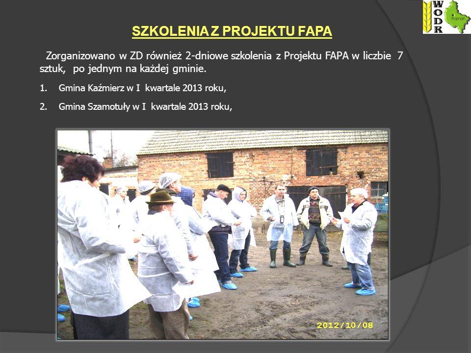 Zorganizowano w ZD również 2-dniowe szkolenia z Projektu FAPA w liczbie 7 sztuk, po jednym na każdej gminie.