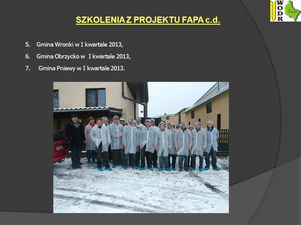 5.Gmina Wronki w I kwartale 2013, 6.Gmina Obrzycko w I kwartale 2013, 7.