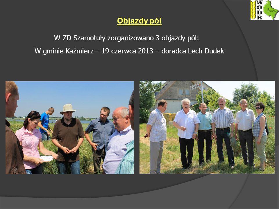 Objazdy pól W ZD Szamotuły zorganizowano 3 objazdy pól: W gminie Kaźmierz – 19 czerwca 2013 – doradca Lech Dudek