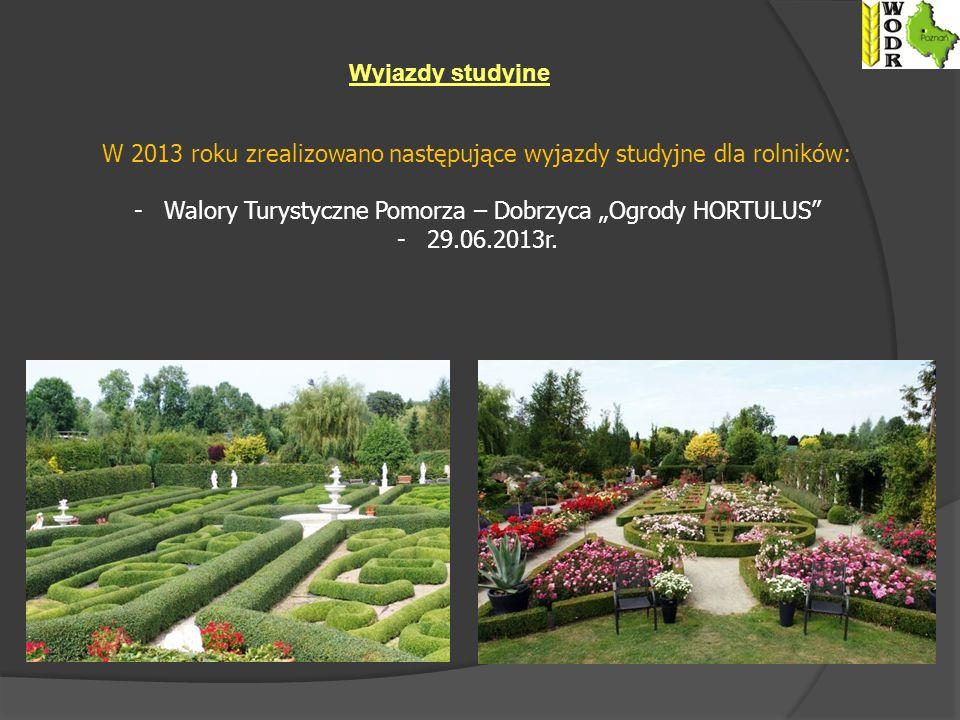 Wyjazdy studyjne W 2013 roku zrealizowano następujące wyjazdy studyjne dla rolników: -Walory Turystyczne Pomorza – Dobrzyca Ogrody HORTULUS -29.06.2013r.