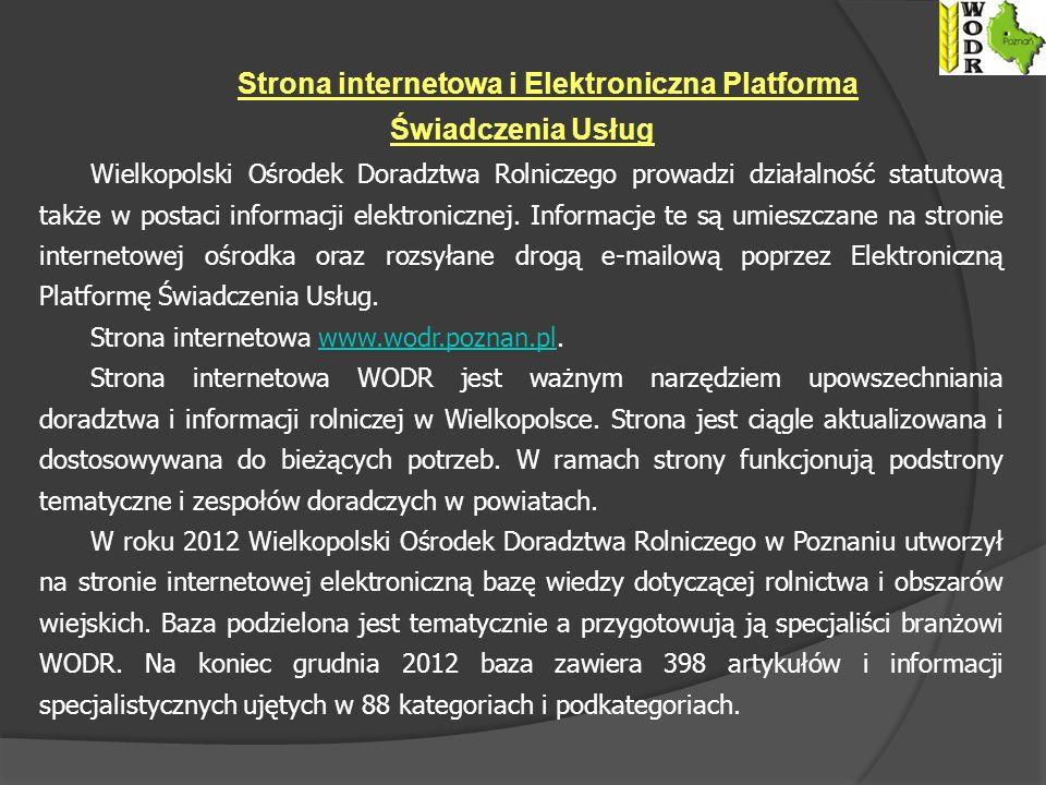 Wielkopolski Ośrodek Doradztwa Rolniczego prowadzi działalność statutową także w postaci informacji elektronicznej.