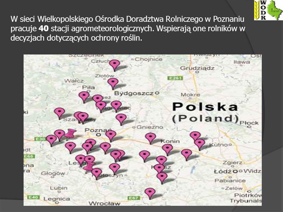 W sieci Wielkopolskiego Ośrodka Doradztwa Rolniczego w Poznaniu pracuje 40 stacji agrometeorologicznych.