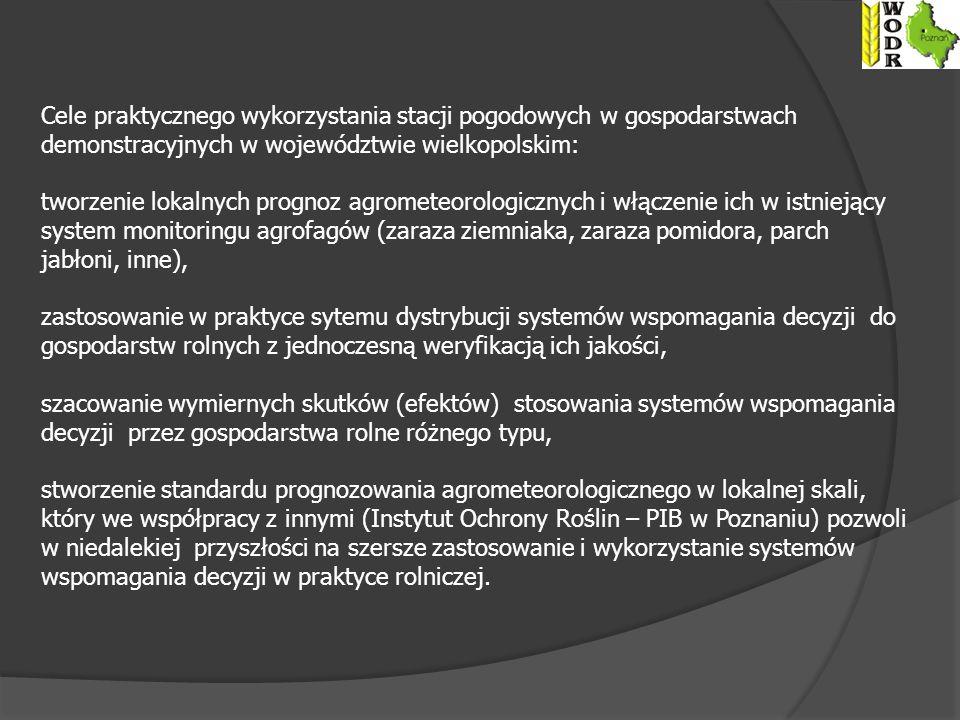 Cele praktycznego wykorzystania stacji pogodowych w gospodarstwach demonstracyjnych w województwie wielkopolskim: tworzenie lokalnych prognoz agrometeorologicznych i włączenie ich w istniejący system monitoringu agrofagów (zaraza ziemniaka, zaraza pomidora, parch jabłoni, inne), zastosowanie w praktyce sytemu dystrybucji systemów wspomagania decyzji do gospodarstw rolnych z jednoczesną weryfikacją ich jakości, szacowanie wymiernych skutków (efektów) stosowania systemów wspomagania decyzji przez gospodarstwa rolne różnego typu, stworzenie standardu prognozowania agrometeorologicznego w lokalnej skali, który we współpracy z innymi (Instytut Ochrony Roślin – PIB w Poznaniu) pozwoli w niedalekiej przyszłości na szersze zastosowanie i wykorzystanie systemów wspomagania decyzji w praktyce rolniczej.
