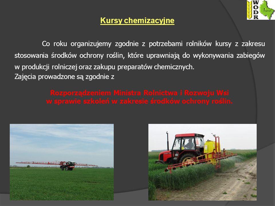 Kursy chemizacyjne Co roku organizujemy zgodnie z potrzebami rolników kursy z zakresu stosowania środków ochrony roślin, które uprawniają do wykonywania zabiegów w produkcji rolniczej oraz zakupu preparatów chemicznych.
