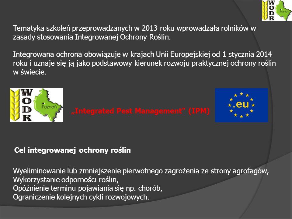 Tematyka szkoleń przeprowadzanych w 2013 roku wprowadzała rolników w zasady stosowania Integrowanej Ochrony Roślin.