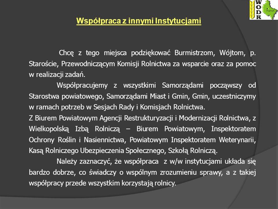 Współpraca z innymi Instytucjami Chcę z tego miejsca podziękować Burmistrzom, Wójtom, p.