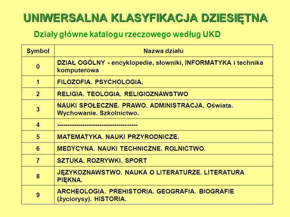 UNIWERSALNA KLASYFIKACJA DZIESIĘTNA Działy główne katalogu rzeczowego według UKD SymbolNazwa działu 0 DZIAŁ OGÓLNY - encyklopedie, słowniki, INFORMATY