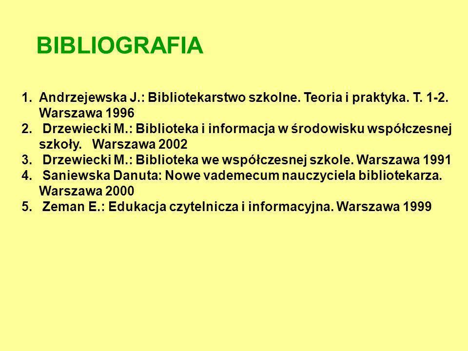 BIBLIOGRAFIA 1.Andrzejewska J.: Bibliotekarstwo szkolne. Teoria i praktyka. T. 1-2. Warszawa 1996 2. Drzewiecki M.: Biblioteka i informacja w środowis