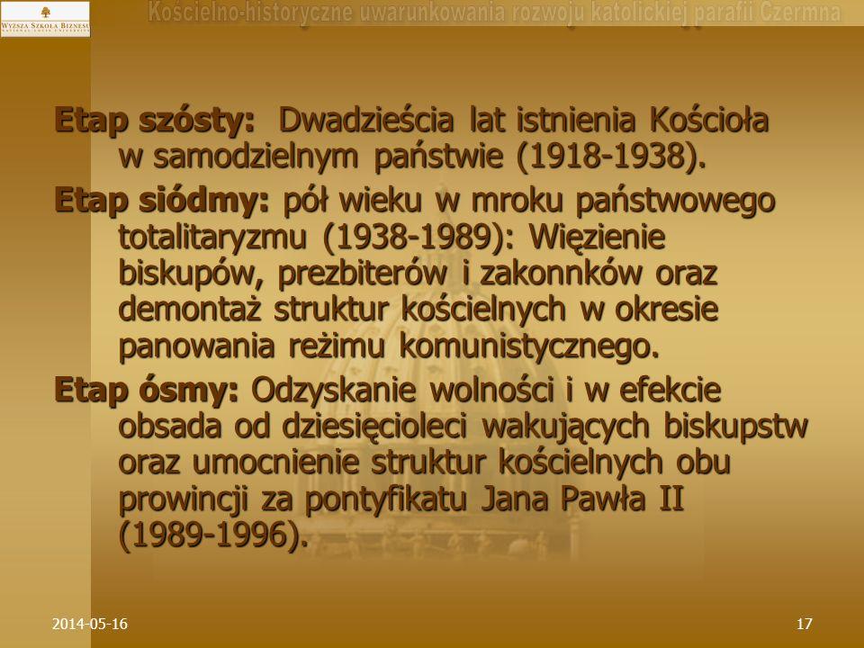 2014-05-1617 Etap szósty: Dwadzieścia lat istnienia Kościoła w samodzielnym państwie (1918-1938). Etap siódmy: pół wieku w mroku państwowego totalitar