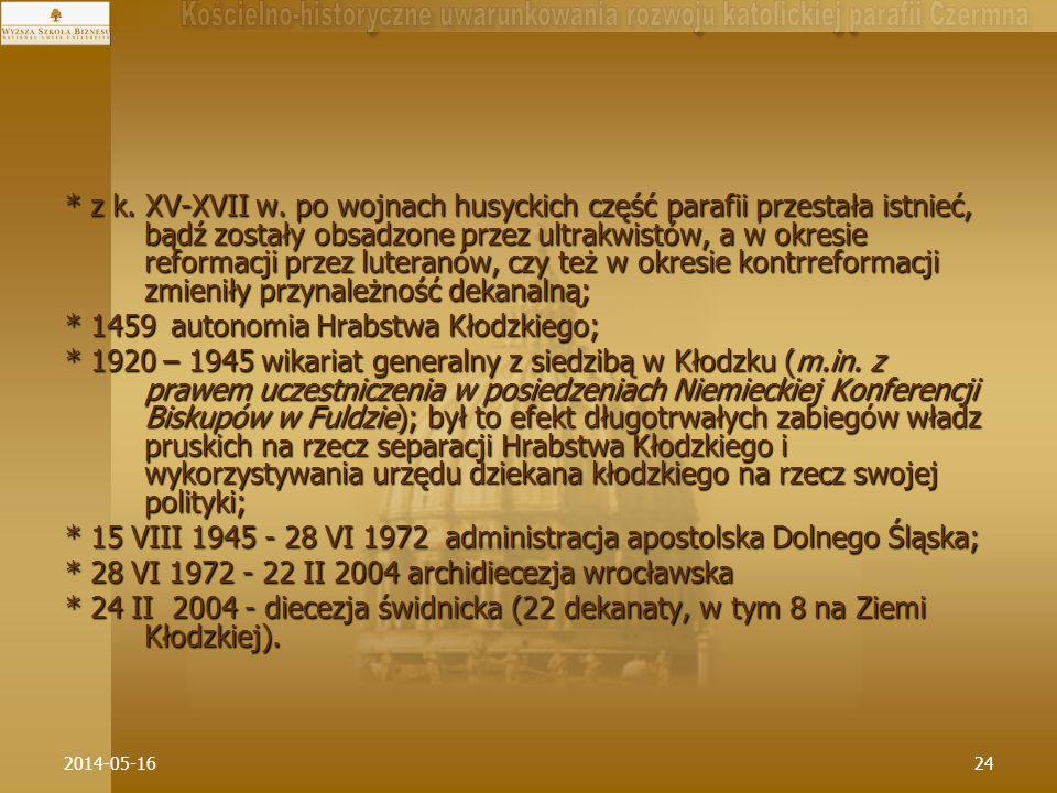 2014-05-1624 * z k. XV-XVII w. po wojnach husyckich część parafii przestała istnieć, bądź zostały obsadzone przez ultrakwistów, a w okresie reformacji