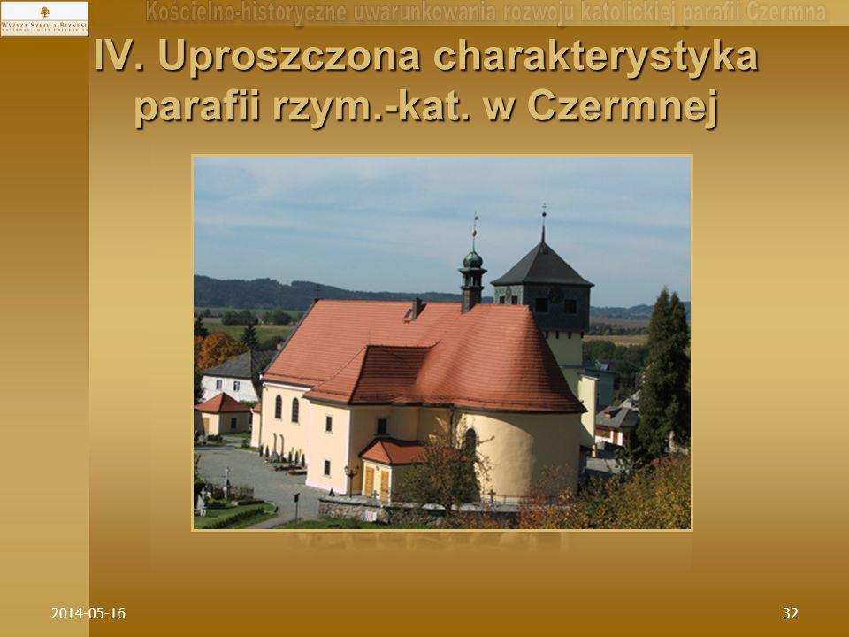 2014-05-1632 IV. Uproszczona charakterystyka parafii rzym.-kat. w Czermnej