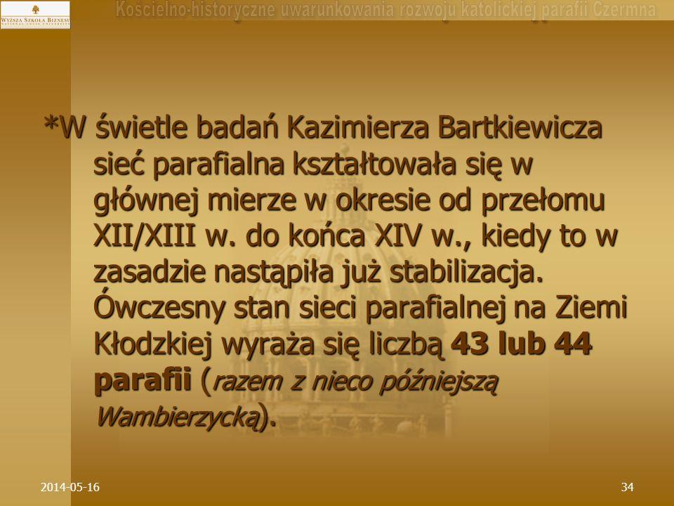 2014-05-1634 *W świetle badań Kazimierza Bartkiewicza sieć parafialna kształtowała się w głównej mierze w okresie od przełomu XII/XIII w. do końca XIV