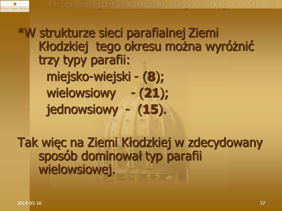 2014-05-1637 *W strukturze sieci parafialnej Ziemi Kłodzkiej tego okresu można wyróżnić trzy typy parafii: miejsko-wiejski - (8); miejsko-wiejski - (8
