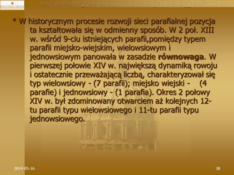 2014-05-1638 * W historycznym procesie rozwoji sieci parafialnej pozycja ta kształtowała się w odmienny sposób. W 2 poł. XIII w. wśród 9-ciu istniejąc