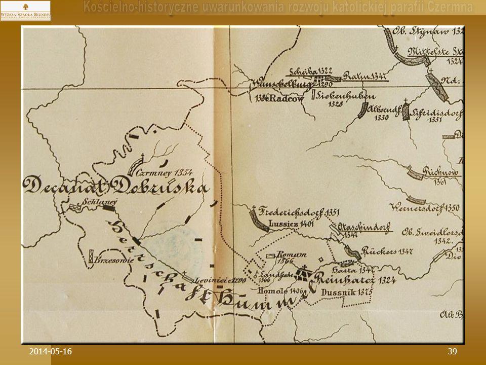 2014-05-1639 * W dynamikę historycznego rozwoju sieci parafialnej na Ziemi Kłodzkiej w drugiej połowie XIV w. wpisuje się Czermna od razu jako parafia