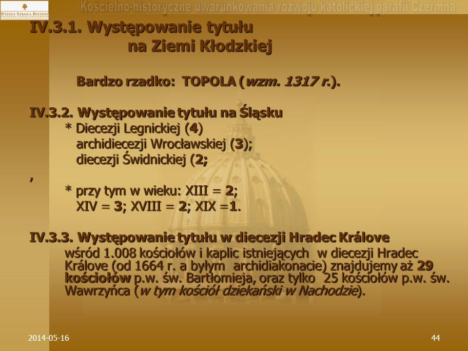 2014-05-1644 IV.3.1. Występowanie tytułu na Ziemi Kłodzkiej na Ziemi Kłodzkiej Bardzo rzadko: TOPOLA (wzm. 1317 r.). Bardzo rzadko: TOPOLA (wzm. 1317