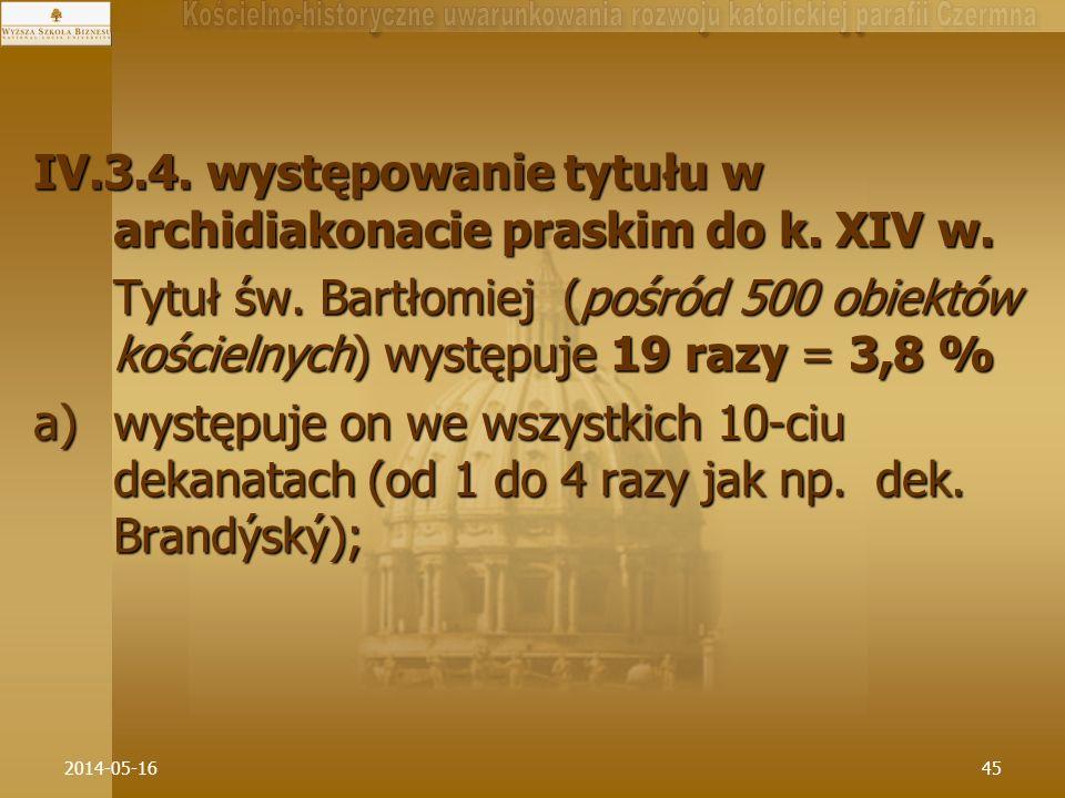 2014-05-1645 IV.3.4. występowanie tytułu w archidiakonacie praskim do k. XIV w. Tytuł św. Bartłomiej (pośród 500 obiektów kościelnych) występuje 19 ra