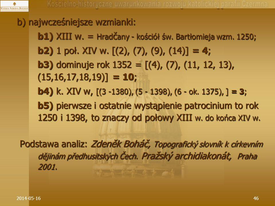 2014-05-1646 b) najwcześniejsze wzmianki: b1) XIII w. = Hrad č any - kościół św. Bartłomieja wzm. 1250; b2) 1 poł. XIV w. [(2), (7), (9), (14)] = 4; b